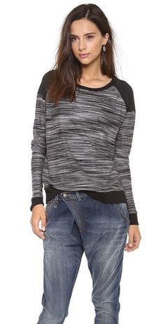 Three Dots Contrast Boxy Sweater