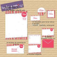 Hojas, sobres, tarjetas de presentación, tarjetas de regalo y stickers. https://www.facebook.com/todohechomano