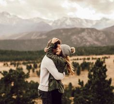 cute couple in the mountains.
