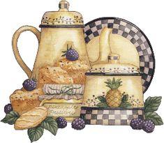 More pictures of Tea Decoupage - Kitchen decor ideas Decoupage Vintage, Vintage Diy, Decoupage Ideas, Illustrations Vintage, Art Carte, Country Paintings, Country Art, Country Kitchen, Country Crafts