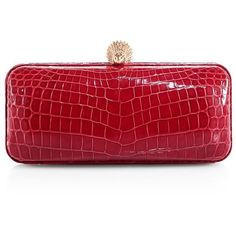 Ethan K Crocodile L Clutch ($3,900) ❤ liked on Polyvore featuring bags, handbags, clutches, apparel & accessories, cherry red, crocodile purse, red crocodile handbag, clasp purse, red croc handbag and red purse