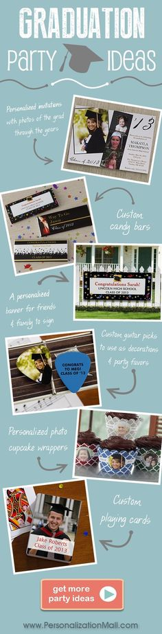 Graduation Party ideas with great ideas for graduation decorations, party favors, invites and more - this site has great ideas!