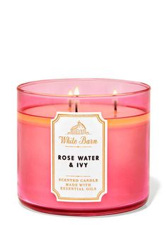 Rose Water & Ivy 3-Wick Candle - White Barn | Bath & Body Works 3 Wick Candles, White Candles, Scented Candles, Candle Jars, Rose Shop, Rose Candle, White Barn, Natural Essential Oils, Rose Water