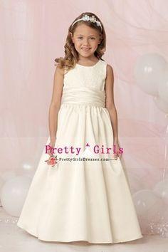 2012 Flower Girl Dresses Ball Gown Sleeveless Floor Length Satin With Ruffles Ivory