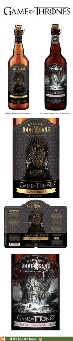 Game of Thrones Beers. Their first release, Iron Throne Ale and soon to be released. Take The Black Stout, with lables by Studio a52. PD