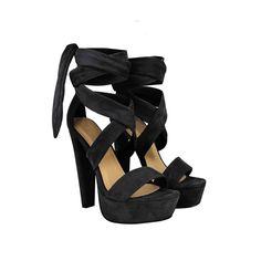Black Suede Tie Lace Up Ankle Strap Peep Toe Block Platform Heel Sandals - Dynamite