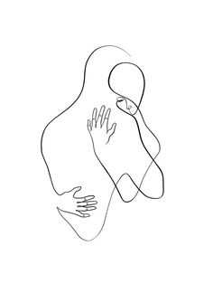 Couple Embracing One Line Minimal Drawing Art Print by WithOneLine - X-Small Minimal Drawings, Art Drawings Sketches Simple, Couple Drawings, Easy Drawings, Drawings Of Couples, Outline Art, Outline Drawings, Aesthetic Drawing, Aesthetic Art