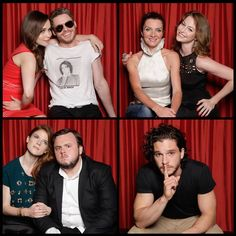 Game of Thrones cast at SDCC TV Guide photo booth. Emilia Clarke, Richard Madden, Michelle Fairley, Esme Bianco, Rose Leslis, John Bradley and Kit Harrington