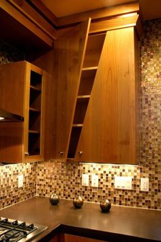 : Unique Shape Of The Wooden Cabinet Doors Inside The Contemporary Kitchen With The Brown Tile Backsplash