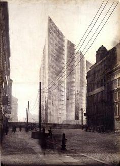 """Ludwig Mies van der Rohe, """"Wabe"""". Beitrag zum Ideenwettbewerb """"Hochhaus am Bahnhof Friedrichstraße"""", 1922 Bauhaus-Archiv / Museum für Gestal..."""