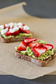 Avocado, strawberry, and goat cheese sandwich.