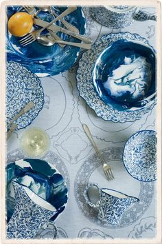 Blue patterned plates from Anthropologie