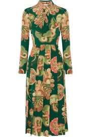 GucciPleated printed silk crepe de chine midi dress
