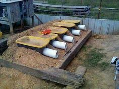 """PVC & old container rabbit """"holes"""""""