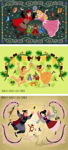 Hi!!! These are all my drawings of Disney movies based on Rapunzel's wall paintings illustrated by Claire Keane! :D I know there are more movies, but they are too many so I chose my favorite ones...