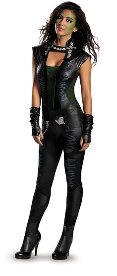 Disguise Women's Marvel Guardians Of The Galaxy Gamora Deluxe Costume, Black/Green, Small/4-6