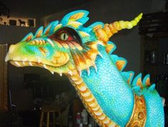 The only Dragon I have done with a collar.  Air dry clay and acrylics.
