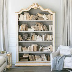 Eloquence® Rousseau Bookcase in Gilt Highlight finish with Pale White interior. Stately and handsome with lots of space for your beautiful books! Bottom shelf is fixed; additional 3 shelves are adjustable. Ships for free! Shabby Chic Dresser, Bookcase, French Bookcase, Shabby Chic Decor, Vintage Decor, Shabby Chic Room, Shabby Chic Furniture, Shabby Chic Homes, Chic Furniture