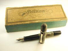"Rare Old ""Pelikan 100N"" Fountain Pen-Lizardskin Pattern-Made in Germany 1930s"