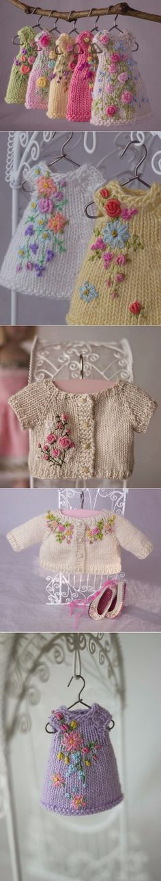 Baby Knitting Patterns Dress Miniature knitted clothes for toys :) Knitted Dolls, Crochet Dolls, Crochet Baby, Knit Crochet, Crochet Projects, Sewing Projects, Knitting Patterns, Crochet Patterns, Little Cotton Rabbits