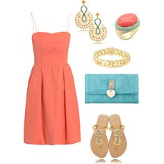 Coral + Turquoise = Love, created by hasnija.polyvore.com
