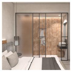 "Each bedroom has a walk-in bathroom, falling under the ""open plan"" idea. Open Plan Bathrooms, Open Bathroom, Loft Bathroom, Bathroom Ideas, Bedroom Decorating Tips, Bathroom Interior Design, Small Loft, Flat Ideas, Grand Designs"