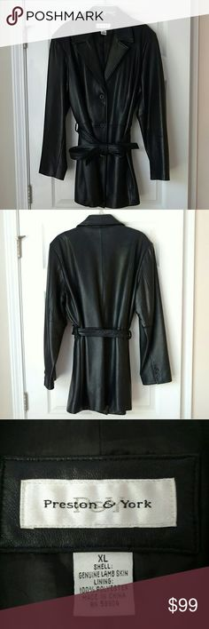 Preston & York Black Genuine Leather Jacket Pre-owned Women's Black Leather Jacket  Three buttons and a leather belt secure the jacket closed  Deep front pockets  Tags are no longer attached but were kept for cleaning instructions and record of authenticity As noted on the tag, every leather hide has sections that are inherently wrinkled, softer or thinner than other parts. Slight imperfections and typical leather wear are hardly visible but shown in photos Preston & York Jackets & Coats