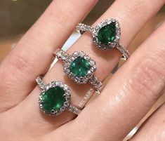 which May birthstone ring would you choose: oval, cushion, or pear? 💚 Birthstone jewelry makes a great gift for any occasion! Diamond Jewelry, Diamond Earrings, Wedding Ring Photography, Fine Jewelry, Jewelry Making, Halo Rings, Birthstone Jewelry, Birthstones, Jewelery