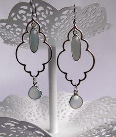 Dreamy Pale Seafoam Chalcedony Gemstone Dangle Dream Team Earrings with Cloud Shape Silver Lining Components