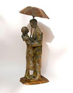 Couple with Umbrella, Bronze  Sculpture by Uri Dushy