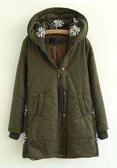 Green Coat with Snowflake Hood :)