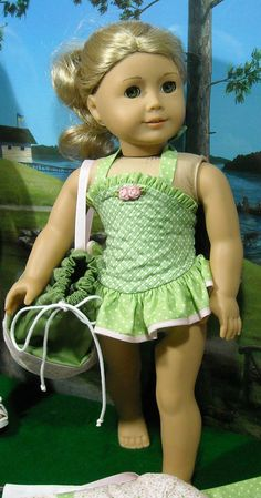 Cotton Bathing Suit, Cover-up and Tote for AG doll Maryellen by SugarloafDollClothes on Etsy $39.00