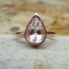 Morganite rose gold ring morganite by karenjohnsondesign on Etsy, £450.00 (from UK)