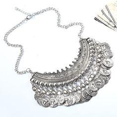 d6572cd42682 2018 New Design Women s Fashion Silver Coins Pendant Statement Bib Charm  Choker Coin Choker Necklace Statement Maxi Necklaces-in Chain Necklaces  from ...
