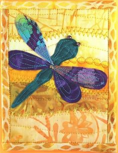 quilted dragonfly card. Would make a fabulous baby blanket