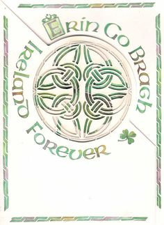 St Patrick\'s Day Card Erin Go Bragh Laser cut Celtic knot