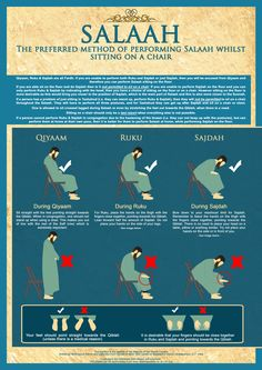 How to pray your salah/salat whilst siting in a chair :) Note: This is only if you are unable to perform prayer standing up due to sickness/illness or some kind of pain.