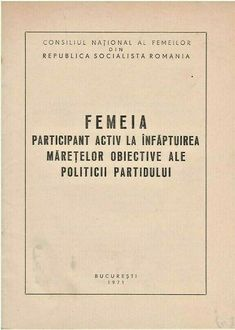 Romanian womens propaganda booklet, published by Communst Party, PCR, RSR, 1971 Greater Than, Booklet, Equality, Resume, Magazines, Cards Against Humanity, Party, Ebay, Women