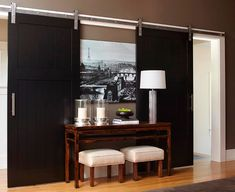 'barn' doors on the north wall (fave kitchen)