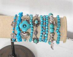 Blue Bracelets Turquoise Elastic Bracelet Set of 10 for $35.00 by LandofBridget