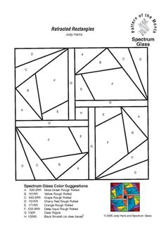 Free Stained Glass Patterns patterns from Spectrum Glass. Stained Glass Designs, Stained Glass Panels, Stained Glass Patterns, Paper Peicing Patterns, Charm Square Quilt, Paper Pieced Quilt Patterns, Crazy Quilt Blocks, Crazy Patchwork, Foundation Paper Piecing