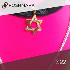 NEW 18k gold plated choker Star of David is 18k gold choker made of organza ribbon, so fits most sizes. This listing is just for the chocker not for the necklace . Jewelry Necklaces