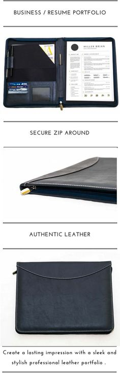 Business Leather Folio Personalized Leather Portfolio Custom Letter ...