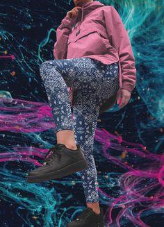 Bandana printed blue and white women leggings @etsy Athleisure Outfits, Bandana Print, White Women, Women's Leggings, Mercury, Street Wear, Blue And White, Printed, How To Make