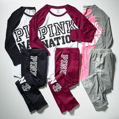 PINK Victorias Secret Loose Fit Pullover Bright SWEATSHIRT Pant Jogger Set XL ❤️