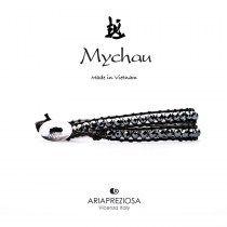 Mychau - Bracciale Vietnam originale realizzato con Ematite naturale su base bracciale col. Nero