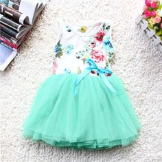 Summer Floral Sleeveless Tutu Dress