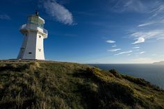 Old Pencarrow Lighthouse, Wellington Heads, looking towards the South Island of New Zealand by FG Gradwell, via Flickr