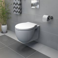 """It is common to find a wall mounted toilet in almost any bathroom and it is not surprising as it is the design with which the toilet was """"modernized"""" in the mid-nineteenth century. Large Bathrooms, Chic Bathrooms, Small Bathroom, Country Style Bathrooms, Lavatory Design, Back To Wall Toilets, Bad Styling, Small Toilet, Bathroom Trends"""