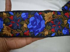 Embroidered Trim, Decorative Trims, Sari Border, Trimmings, Trim By The Yard, Sewing Indian Fabric Trim, Costume trim, Fashion tape trim  Royal Blue, Steel Blue, Maroon, Seaweed Green, Brown Embroidered designer Trims on Black Silk Fabric. This beautiful Lace can be used for designing stylish blouses, shrugs, skirts, tunics, festive wear, wedding wear and dresses.  Measurements : approximately 3 Inch wide  ➤➤This listing is sold by the yard.➤➤  This stunning lace trim is great for any sewing…